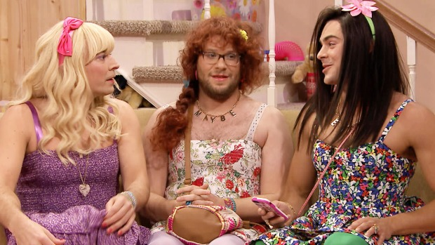 """[NATL] Seth Rogen, Zac Efron Dress in Drag for Sketch on """"The Tonight Show"""""""