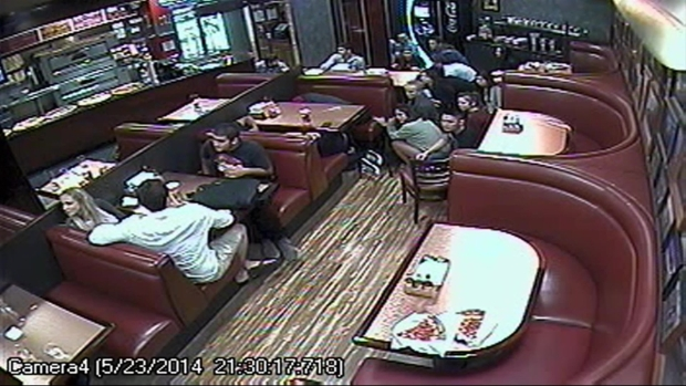 [LA_BAY] Surveillance Camera Shows Pizza Shop Patrons Running During Rampage