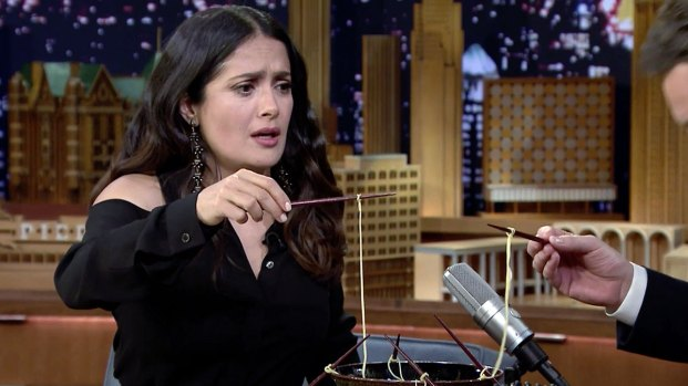 [NATL] 'Tonight Show': Ramen Challenge With Salma Hayek