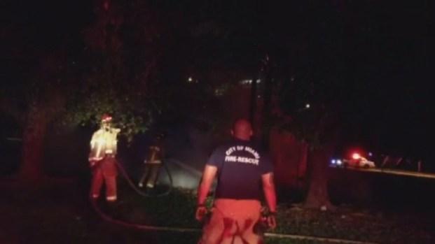 [MI] RAW VIDEO: Trees on Fire in Field in Miami