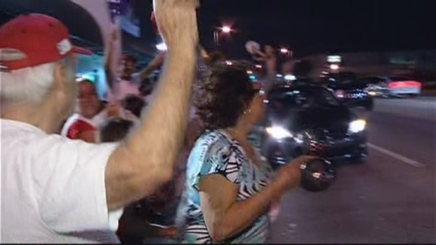 [MI] Miami Heat Fans Celebrate Finals Win Outside Versailles