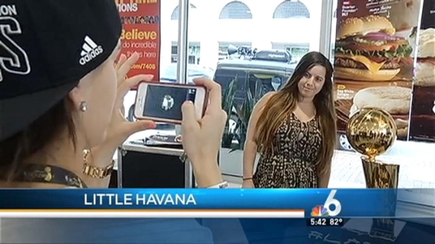 [MI] Miami Heat Fans Track Down Championship Trophy at Little Havana McDonald's