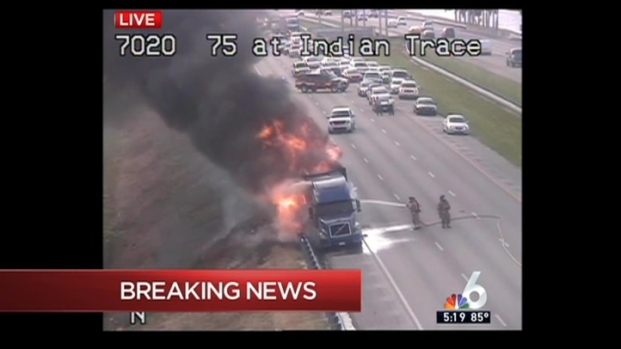 [MI] Smoke, Flames Billow From Tractor Trailer on Fire on Interstate 75 in Weston