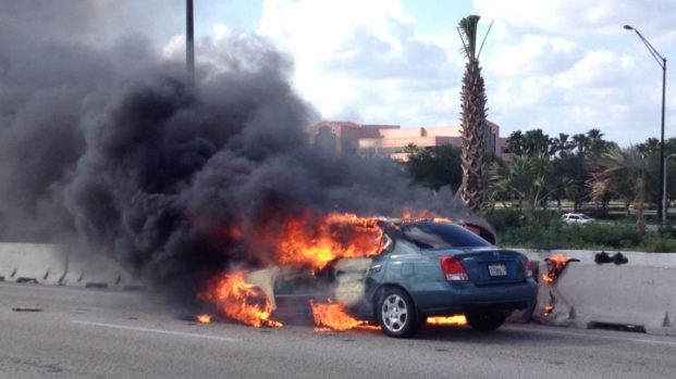 Car Catches Fire on I-595 and Pine Island Road