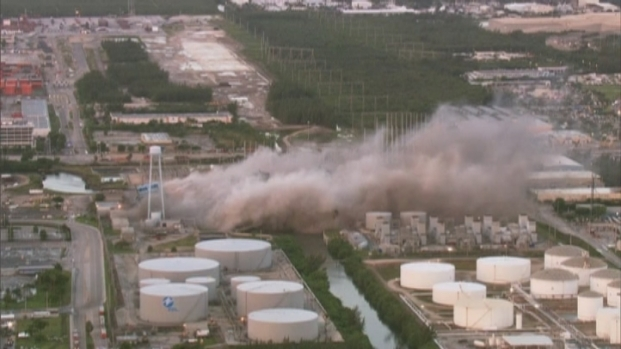 [MI] RAW VIDEO: Chopper Footage of FPL Power Plant Demolition at Port Everglades
