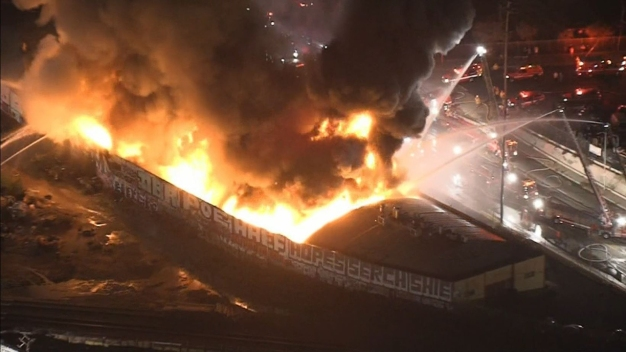Firefighters Battling Blaze at Commercial Building in Los Angeles