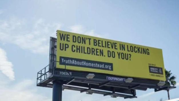 Billboard Calls Attention to Detained Migrant Children