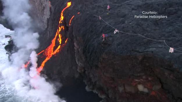 WATCH: Lava Flows Down Hawaiian Cliffs Into Ocean