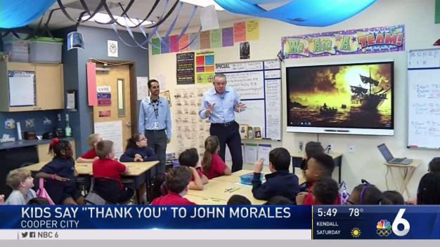 Students Thank NBC 6's John Morales for Irma Coverage