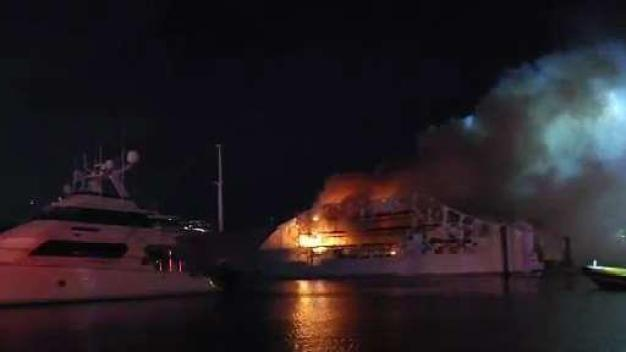 Two Million-Dollar Yachts Catch Fire in Ft. Lauderdale