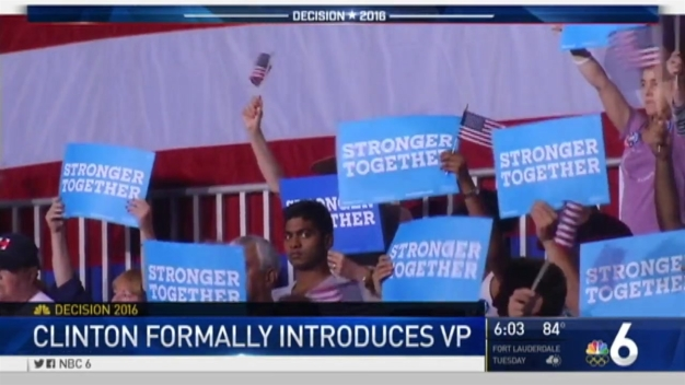 Hillary Clinton Makes First Appearance With Running Mate Tim Kaine in Miami