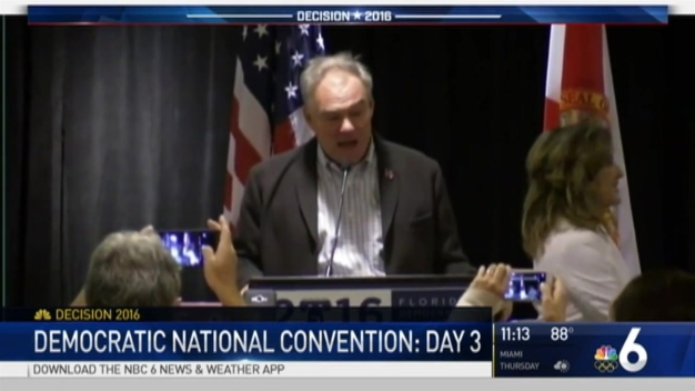 VP Nominee Tim Kaine Speaks With Florida Delegates at DNC