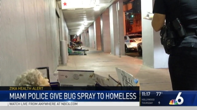 Miami Police Give Mosquito Repellent to Homeless in Zika Fight