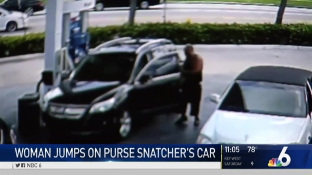 Woman Jumps on Car Trying to Get Purse Back From Thief