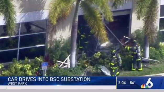 Woman Hospitalized After Fiery Crash Into BSO Substation