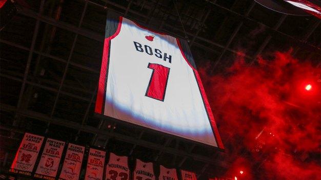 5e9c42963068 Heat Raise Chris Bosh s No. 1 Jersey to the Rafters