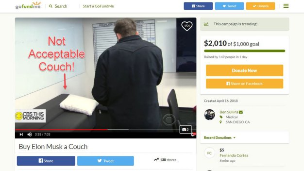 Crowdfund Raises Over $3,000 to Buy Tesla CEO a New Couch