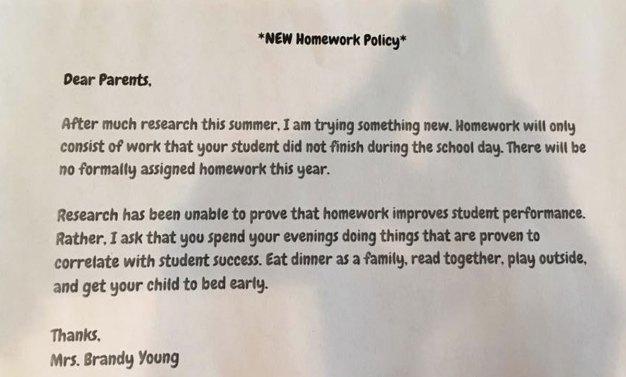 Texas Teacher Eliminates Homework for 2nd-Graders