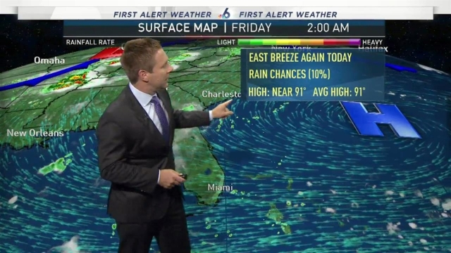 <p>Partly cloudy and warm this morning with bright skies and a noticeable breeze this afternoon.</p>