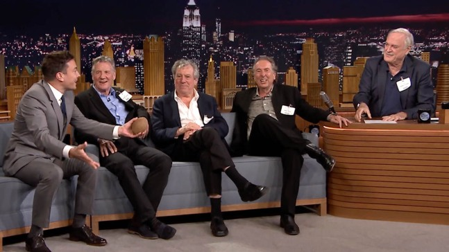 """Tonight"": Jimmy Fallon Swaps Seats With John Cleese"