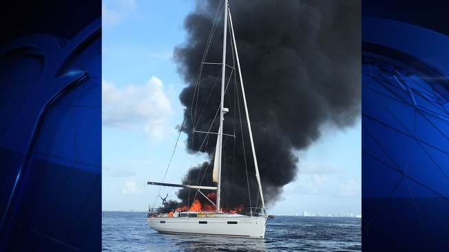 Man Uninjured After Sailboat Catches Fire Near Fort Lauderdale