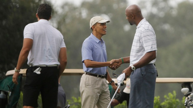 President Barack Obama Goes Golfing With Alonzo Mourning in Davie During South Florida Fundraising Visit