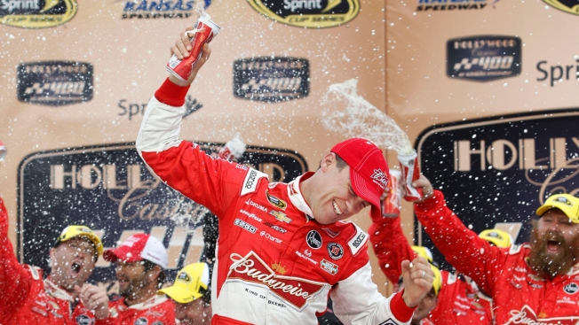 Harvick Wins Wreck-Filled Race at Kansas Speedway
