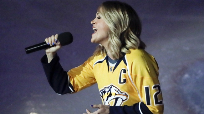 Surprise! Carrie Underwood Sings the National Anthem Before Her Husband's Hockey Playoff Game