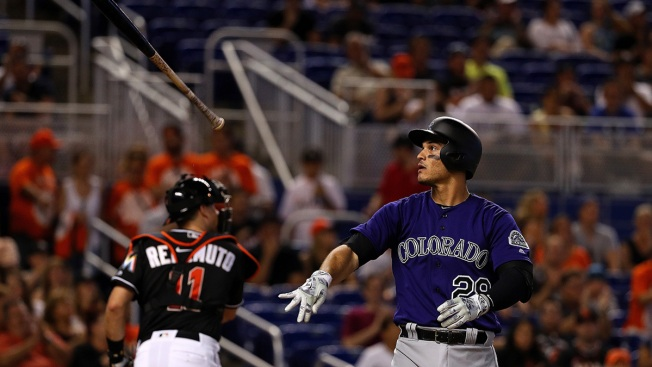 Rockies 3B Nolan Arenado exits after hit-by-pitch against Marlins