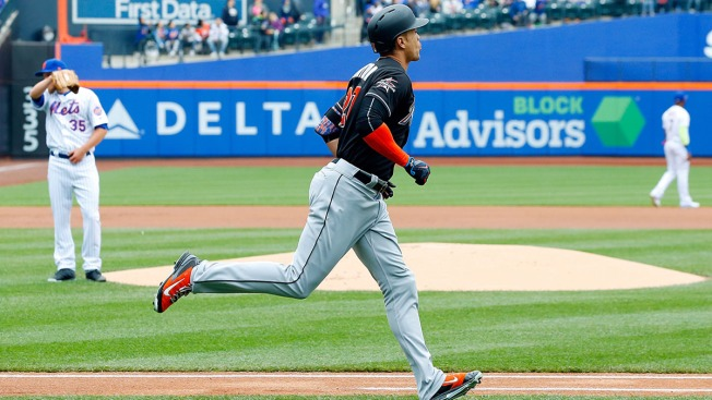 Stanton hits 45th HR, Conley fans 11, Marlins beat Mets 6-4