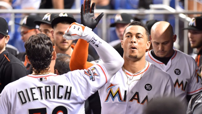 Giancarlo Stanton homers for the sixth consecutive game