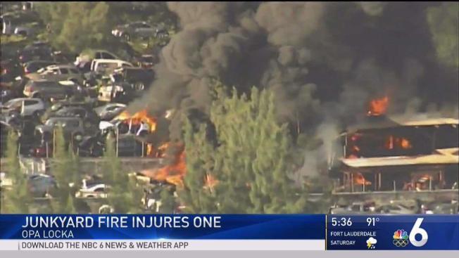 Opa Locka Junkyard >> One Person Injured in Large Fire at Opa-Locka Junkyard