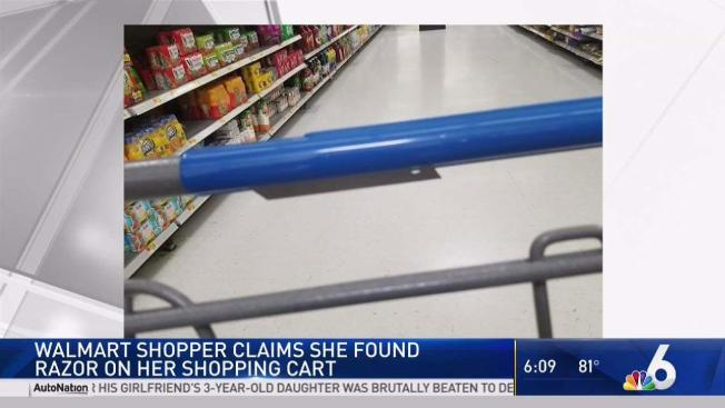 woman claims she found razor on shopping cart at coral springs