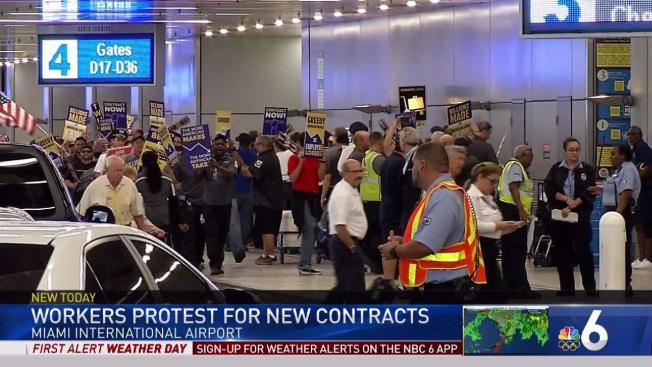 Airline Workers Protest For New Union Contract At Mia Nbc 6 South