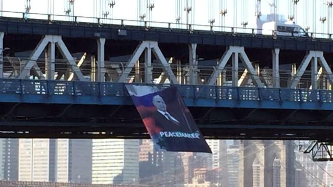 Banner Praising Vladimir Putin Unfurled From NYC Bridge