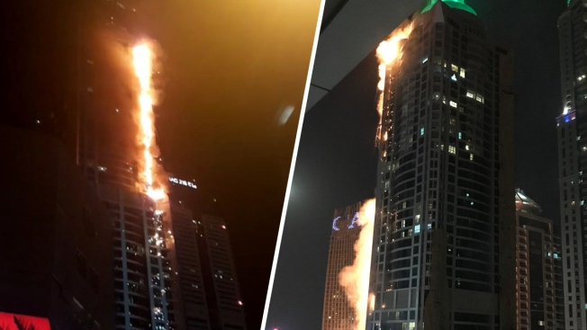 In Dubai caught fire the second week of the skyscraper