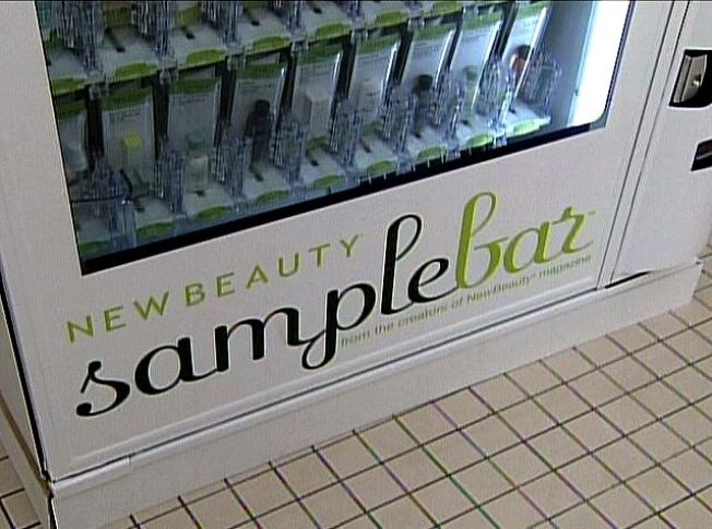 Haircare products sampled via vending