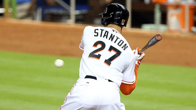 Giancarlo Stanton Helps Put Marlins Into First Place With Record Setting Blast