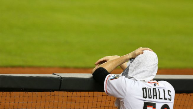 Marlins' Qualls Turns Fall into Amazing Celebration