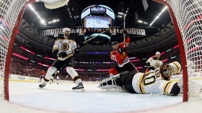 Hawks Beat Bruins in Triple OT in Game 1