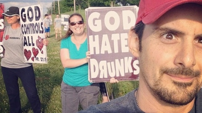 Brad Paisley Takes Selfie With Westboro Baptist Church Protesters