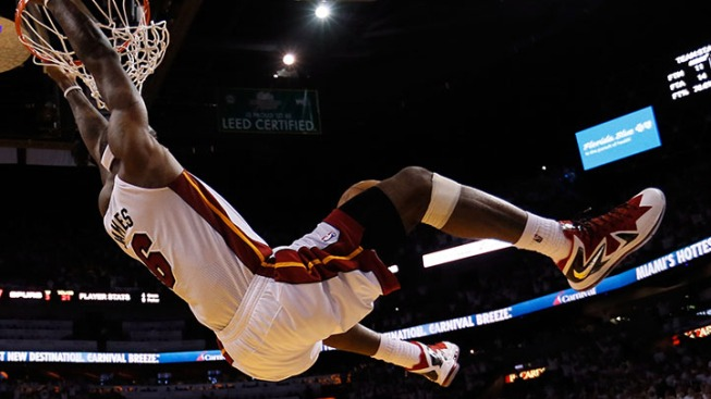 LeBron James Puts On A Dunk Show After Heat Practice on Monday in Phoenix