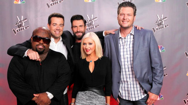 """The Voice"" Season 5: Adam and Blake Share a Kiss, Christina and Cee Lo Return"