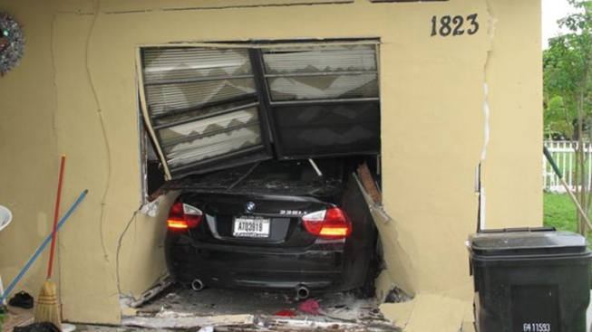 Driver Crashes Into Own Home