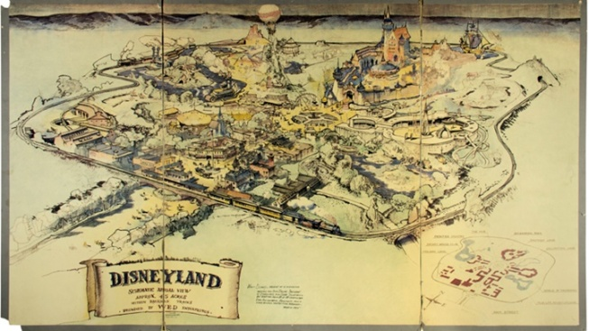 [NATL-LA]'Rare' Disneyland Hand-Drawn Map at Auction
