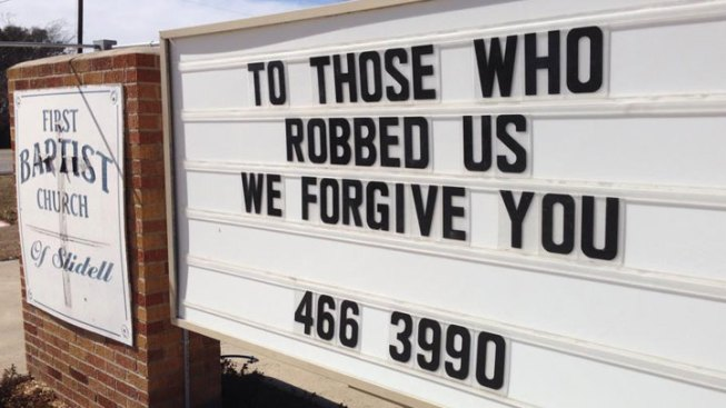 "Texas Church Tells Thieves: ""We Forgive You"""