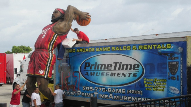 LeBron James Made Into Huge Foam Statue