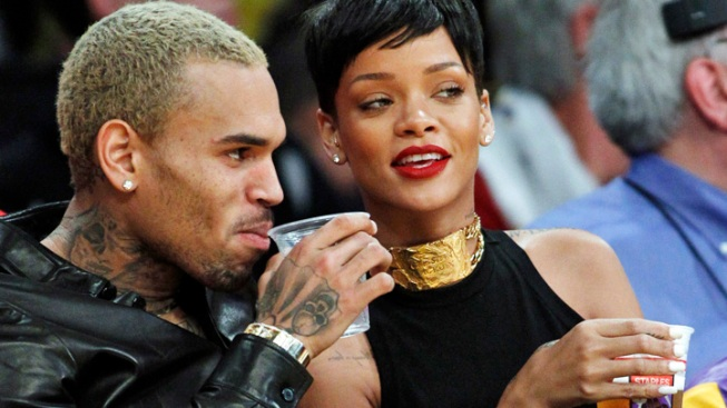 Rihanna and Chris Brown Spend Christmas Together at Lakers Game