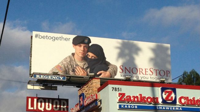 Billboard with U.S. Soldier, Muslim Woman Courts Controversy