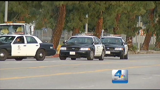 Police combed a Northridge neighborhood, responding to sightings of fugitive suspect ex-LAPD Officer Christopher Dorner, accused in a series of killings, including a police officer. Lolita Lopez reports for the NBC4 News at 11 p.m. on Sunday, Feb. 10, 2013.